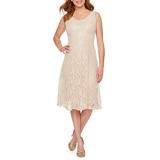 J Taylor Sleeveless Lace Fit Flare Dress