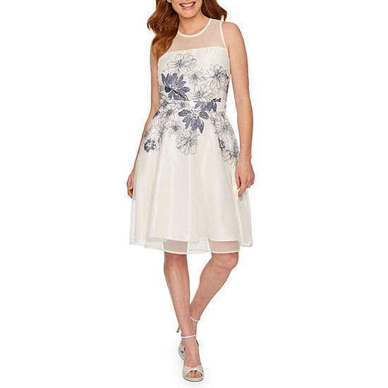 J Taylor Sleeveless Embroidered Floral Fit & Flare Dress