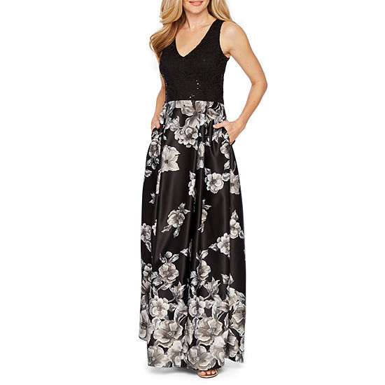 Blu Sage Sleeveless Floral Evening Gown