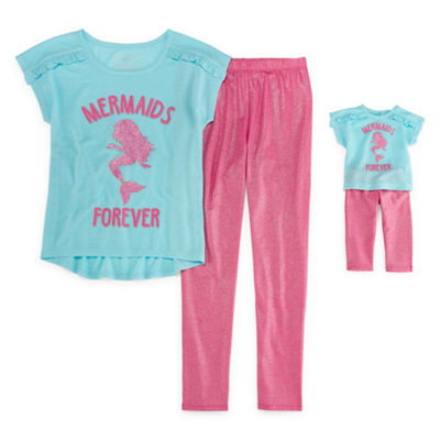 "'For Me and My Dream Doll"" Mermaids Forever 2-pc. Pant Pajama Set - Girls"