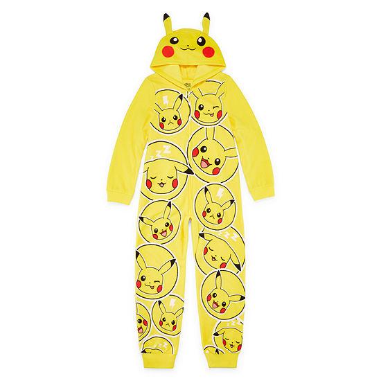 Pokemon Microfleece Long Sleeve Hooded Neck One Piece Pajama Boys