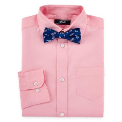 IZOD Boys Point Collar Long Sleeve Shirt + Tie Set Preschool / Big Kid