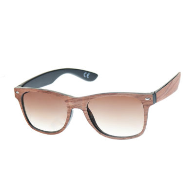 JF J.Ferrar® Faux Wood Way Retro Rectangular Sunglasses