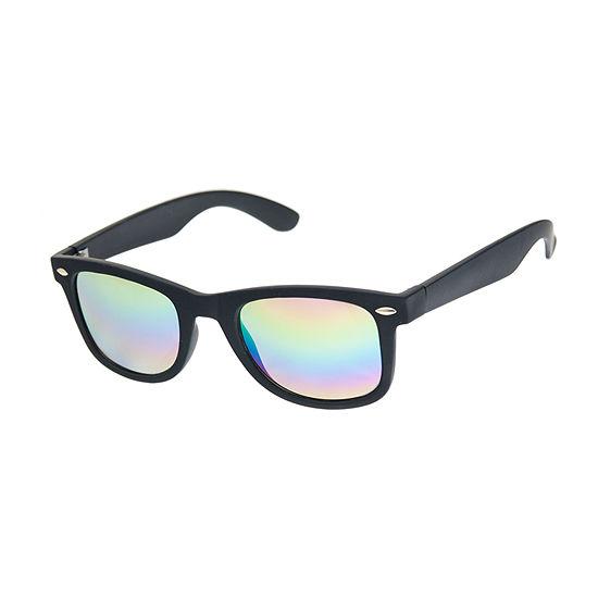 Arizona® Rubberized Retro Rectangular Sunglasses with Rainbow Mirror