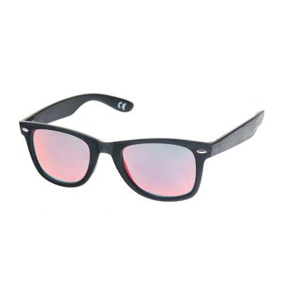 Arizona® Wood Texture Way Rectangular Sunglasses with Red Lens