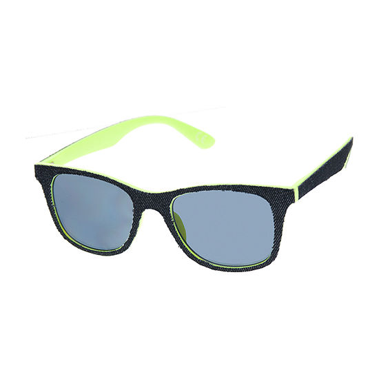 Arizona Retro Rectangular Sunglasses with Denim Fabric