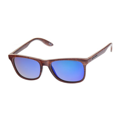 Panama Jack® Slim Faux Wood Wayfarer Sunglasses with Tropical Cord