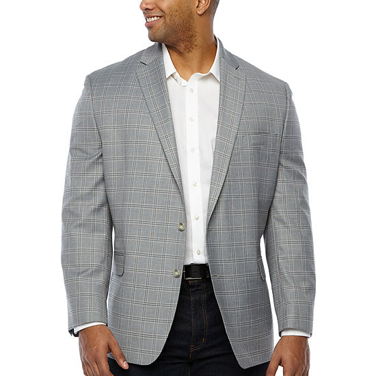 Shaquille O'Neal XLG Mens Plaid Stretch Classic Fit Sport Coat - Big and Tall