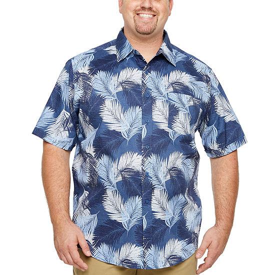 Haggar Mens Short Sleeve Button-Front Shirt Big and Tall