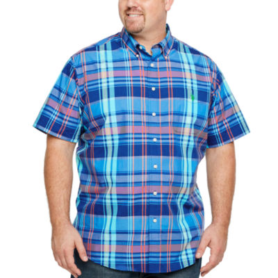 U.S. Polo Assn. Mens Short Sleeve Plaid Button-Front Shirt Big and Tall