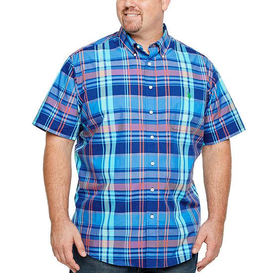 U.S. Polo Assn. Big and Tall Mens Short Sleeve Plaid Button-Front Shirt