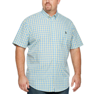 U.S. Polo Assn. Mens Short Sleeve Checked Button-Front Shirt Big and Tall