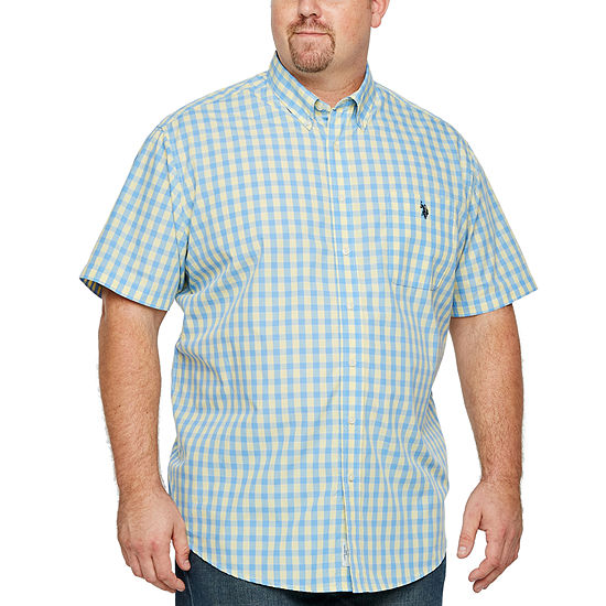 U.S. Polo Assn. Big and Tall Mens Short Sleeve Checked Button-Front Shirt