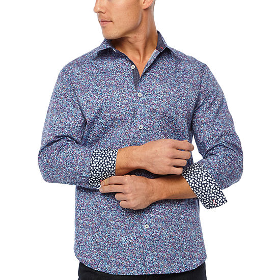 Society Of Threads Slim Fit Liberty Floral Print Comfort Stretch Long Sleeve Shirt