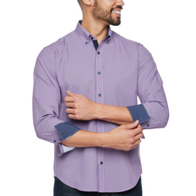 Society Of Threads Slim Fit Check Print Performance Stretch Long Sleeve Shirt