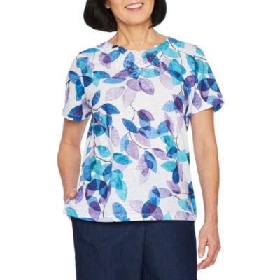 Alfred Dunner Classics Crew Neck Short Sleeve T-Shirt - Womens