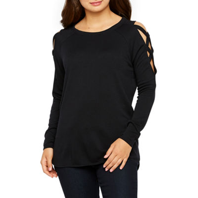 Bold Elements Womens Crew Neck Long Sleeve French Terry Blouse