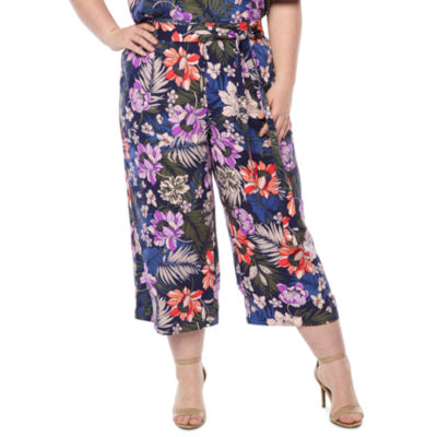 a.n.a Womens Wide Leg Floral Crop Pant- Plus