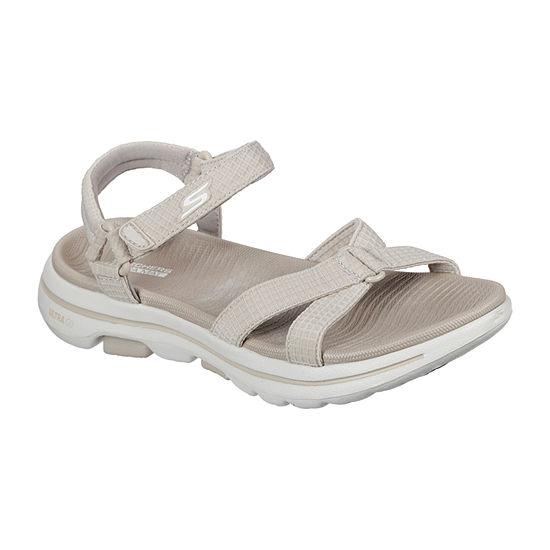 Skechers Go Walk 5 Jet Set Womens Ankle Strap Footbed Sandals