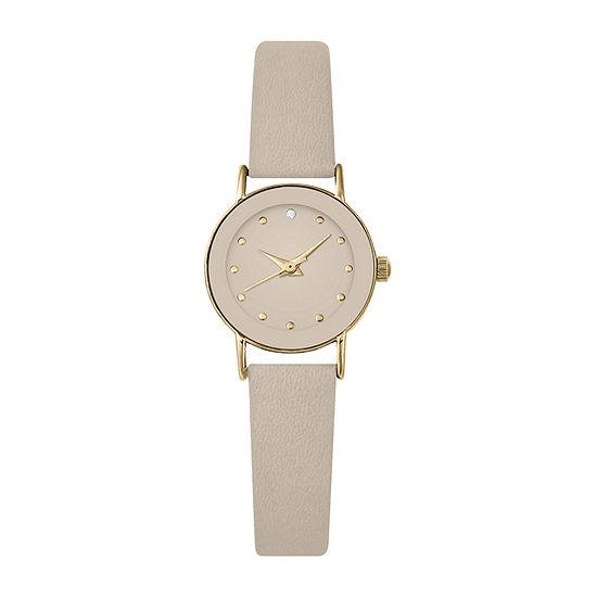 Geneva Womens Brown Strap Watch-Pt3128gdtn