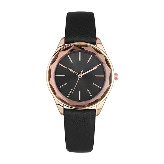 Geneva Womens Black Strap Watch-Pt6569rgbk