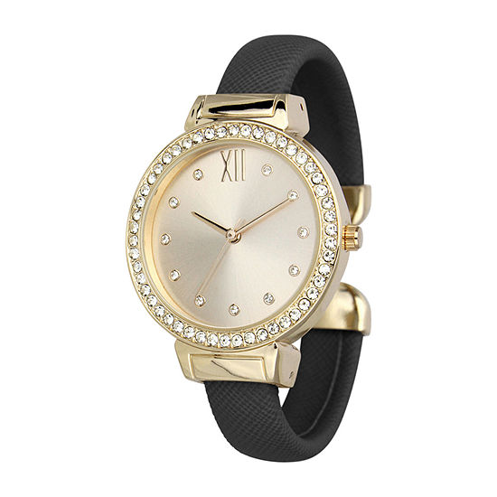Geneva Womens Black Bangle Watch-Pt7148gdbk