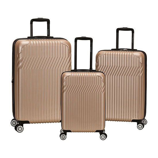 Rockland Pista 3-Pc ABS Non Expandable Hardside Lightweight Luggage Set