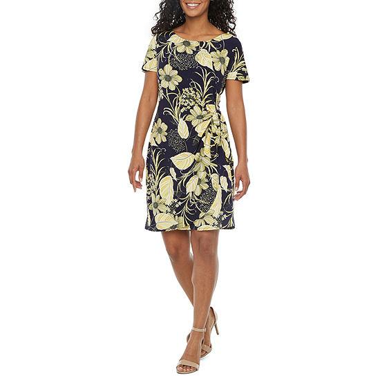 Robbie Bee-Petite Short Sleeve Floral Sheath Dress