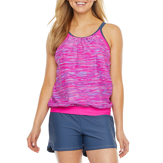 Free Country Striped Tankini Swimsuit Top
