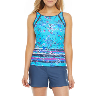 Free Country Floral Tankini Swimsuit Top