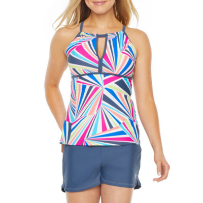 Free Country Geometric Tankini Swimsuit Top