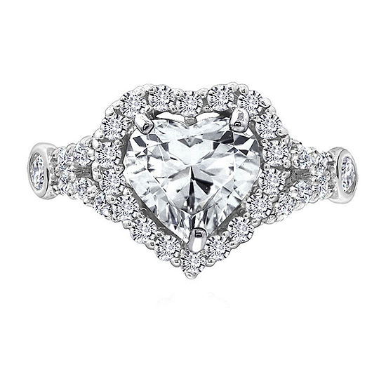 Womens 2 CT. T.W. Cubic Zirconia Sterling Silver Heart Engagement Ring