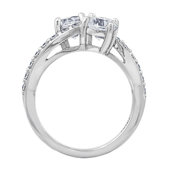 Womens 1 3/4 CT. T.W. Cubic Zirconia Sterling Silver Curved Engagement Ring