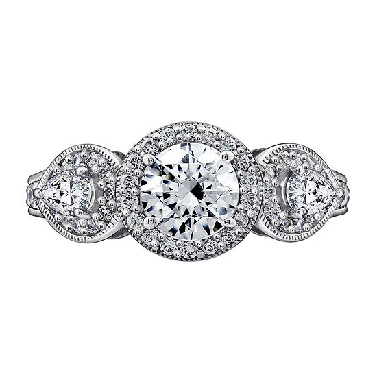 Womens 2 CT. T.W. Cubic Zirconia Sterling Silver Round Engagement Ring