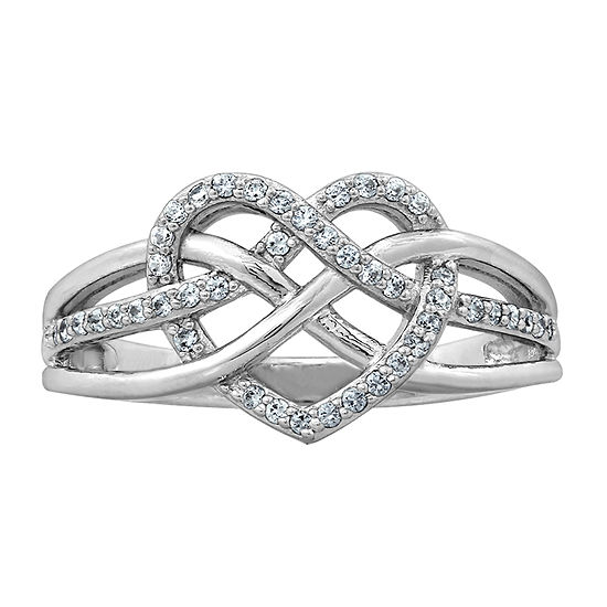 Womens 1/4 CT. T.W. Cubic Zirconia Sterling Silver Heart Promise Ring