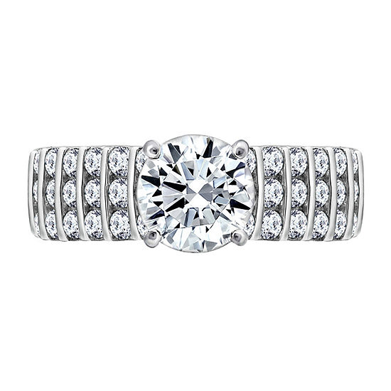 Womens 2 1/3 CT. T.W. Cubic Zirconia Sterling Silver Round Engagement Ring