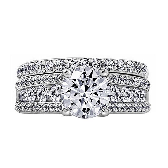 Womens 3 1/2 CT. T.W Cubic Zirconia Sterling Silver Round Bridal Set