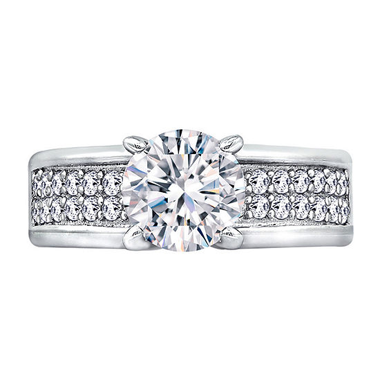 Womens 2 3/4 CT. T.W. Cubic Zirconia Sterling Silver Round Engagement Ring