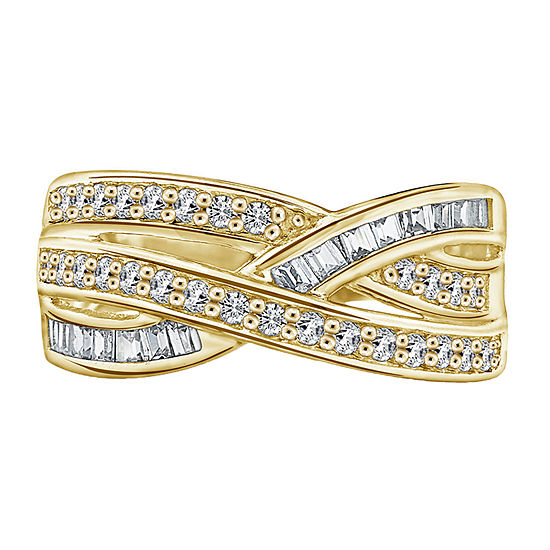 11M 1 CT. T.W. Cubic Zirconia 14K Gold Over Silver Round Band
