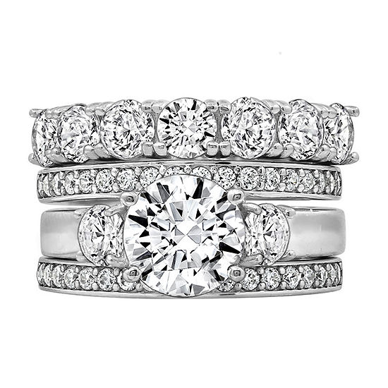 Womens 5 1/4 CT. T.W. Cubic Zirconia Sterling Silver Round Bridal Set