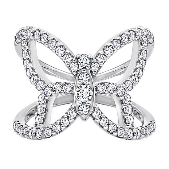 Womens 1 1/3 CT. T.W. Cubic Zirconia Sterling Silver Butterfly Cocktail Ring