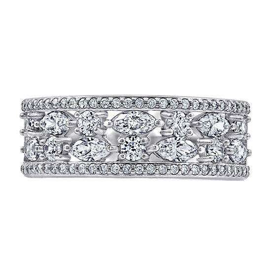 9M 1 5/8 CT. T.W. Cubic Zirconia Sterling Silver Round Band