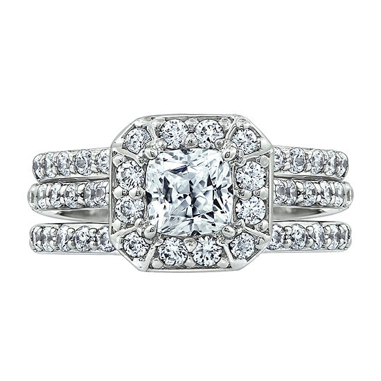 Womens 1 7/8 CT. T.W. Cubic Zirconia Sterling Silver Square Bridal Set