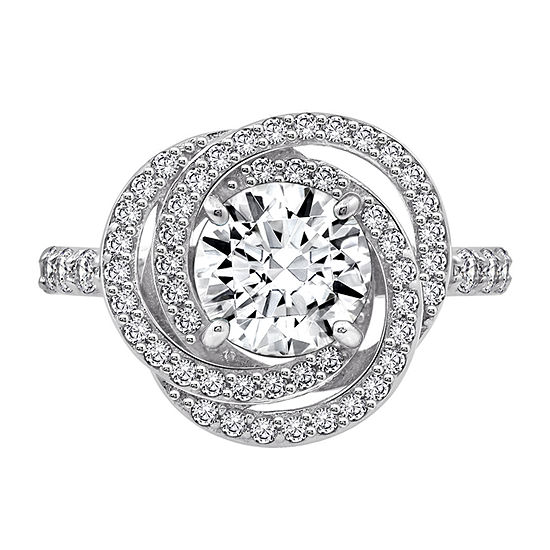 Womens 3 CT. T.W. Cubic Zirconia Sterling Silver Flower Engagement Ring