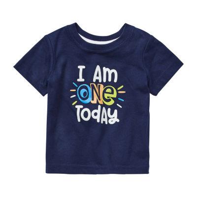 Okie Dokie Birthday Baby Boys Crew Neck Short Sleeve Graphic T-Shirt