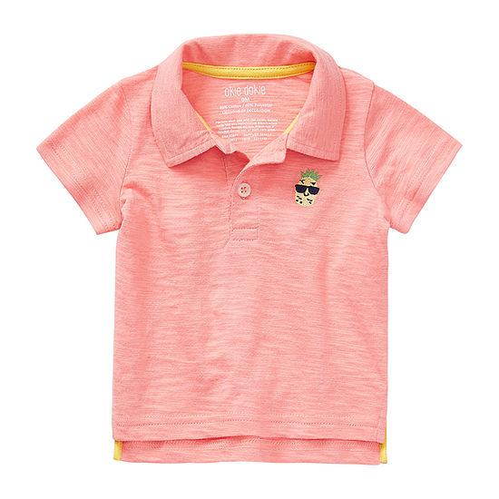 Okie Dokie Boys Point Collar Short Sleeve Polo Shirt - Baby