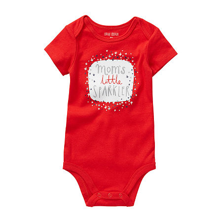 Okie Dokie Sparkler Baby Girls Bodysuit, Newborn , Red