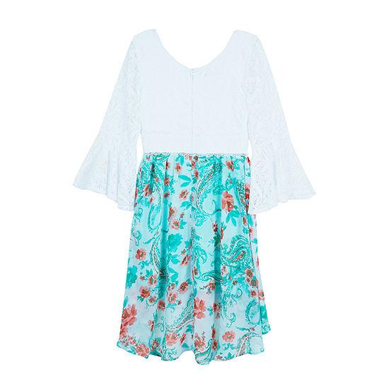 by&by girl Little & Big Girls 3/4 Sleeve Bell Sleeve Skater Dress