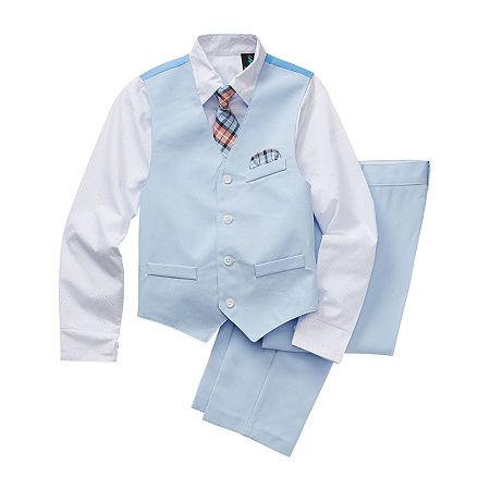 Kids 1950s Clothing & Costumes: Girls, Boys, Toddlers Steve Harvey Little  Big Boys 4-pc. Suit Set 4  Blue $33.74 AT vintagedancer.com