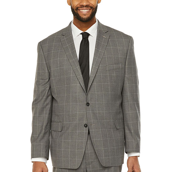 Shaquille O'Neal XLG Mens Windowpane Stretch Classic Fit Suit Jacket-Big and Tall